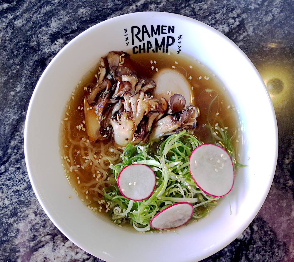 hanhgry.com | bowl of vegetarian shiitake shio ramen at Ramen Champ