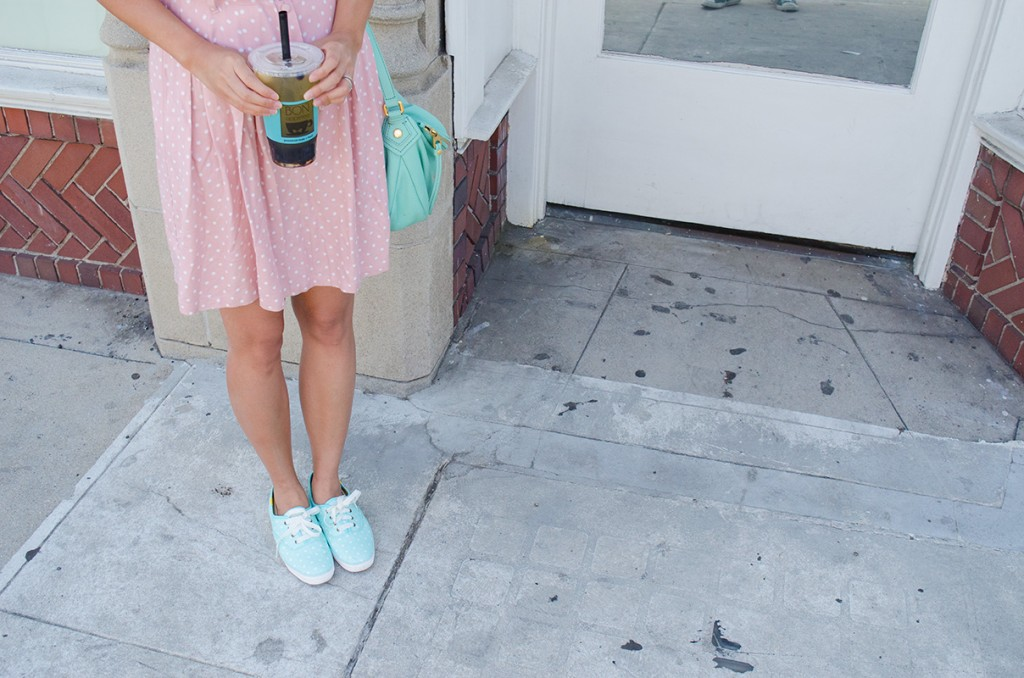 hanhgry.com | polka dot dress and boba
