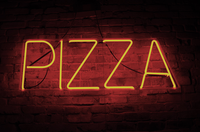 Neon red sign spelling out the word Pizza