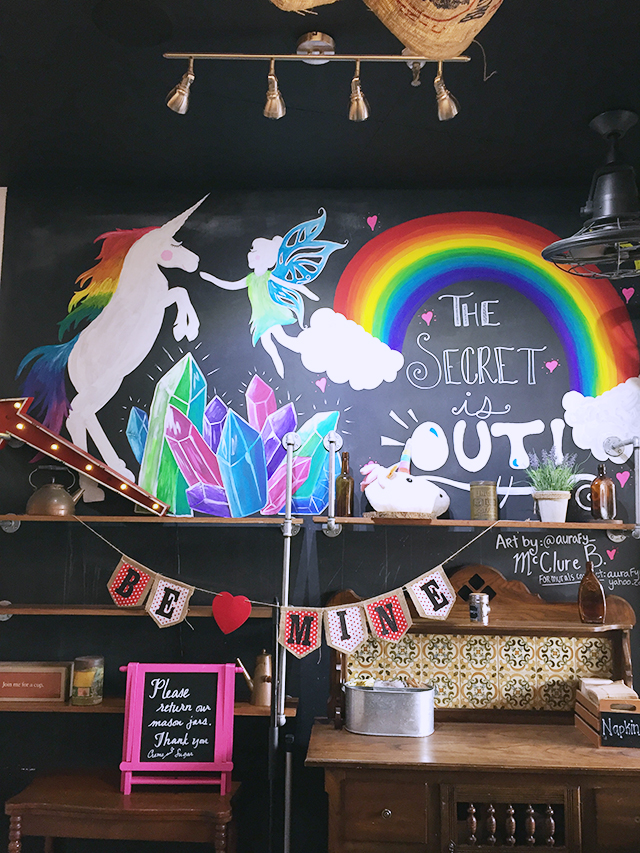 Creme and Sugar cafe, interior wall with unicorn chalk mural