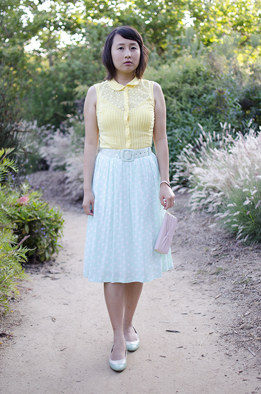 hanhgry.com | wearing modcloth yellow shirt with polka dot mint green skirt