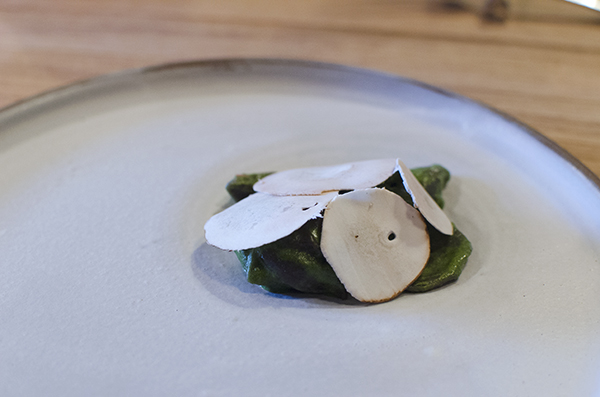 Farm Spirit: Black Trumpet little ears, green garlic, shaved crimini, black trumpet puree