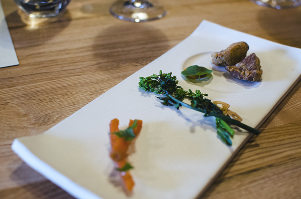 farm spirit: carrot jerky, fried abalone mushroom, broccoli raab