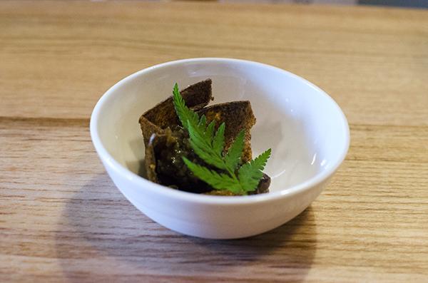 Farm Spirit: sunchoke crisp, mushroom marmalade, sweet cicely