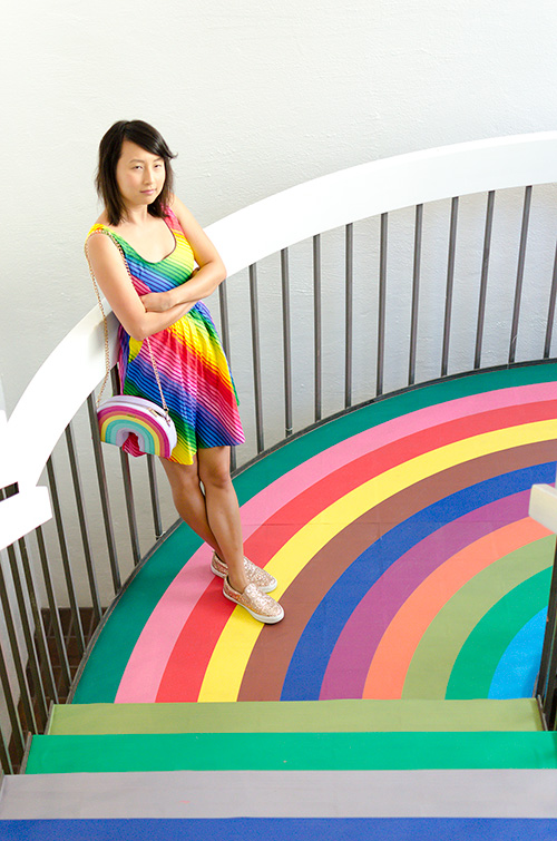 hanhgry.com | color factory entrance with rainbow stairs