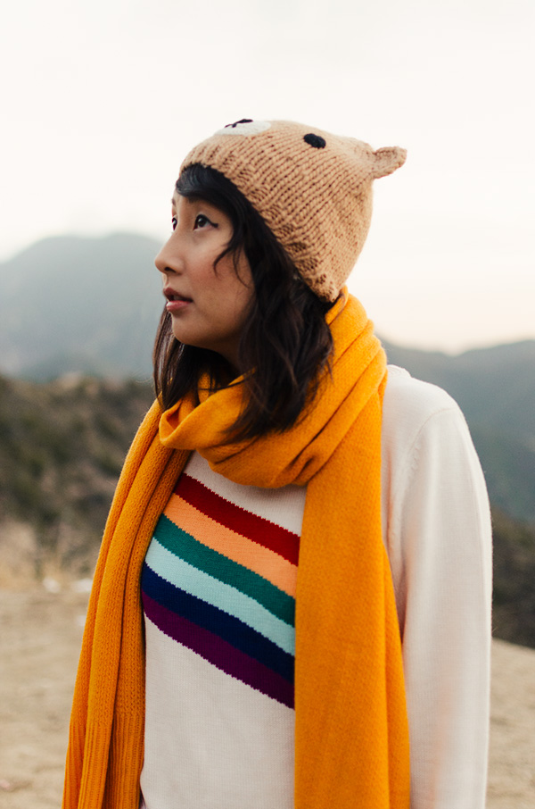 hanhgry.com | rainbow sweater and mustard scarf in the angeles national forest