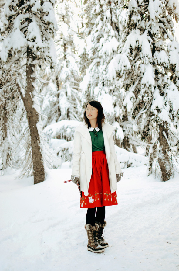 hanhgry.com | red gingerbread skirt standing in snow