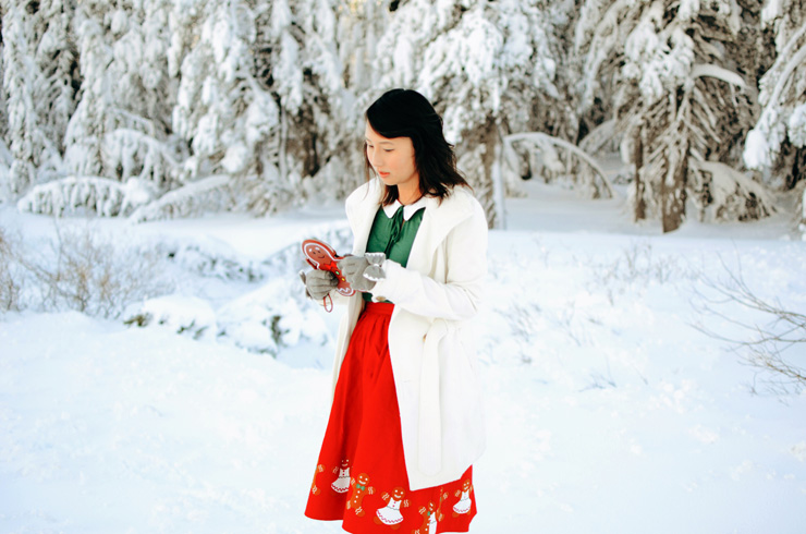 hanhgry.com | red gingerbread skirt standing in snow and inspecting gingerbread clutch