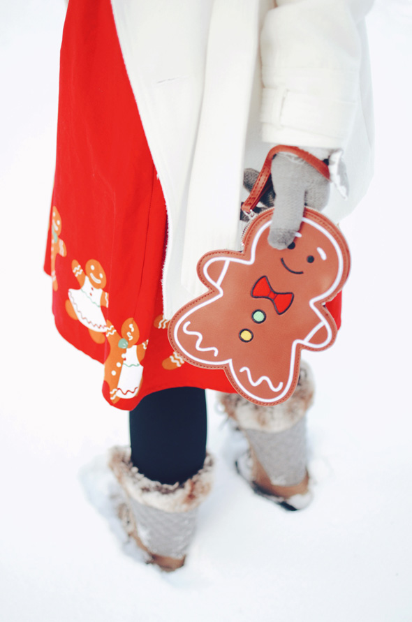 hanhgry.com | gingerbread clutch with red gingerbread skirt