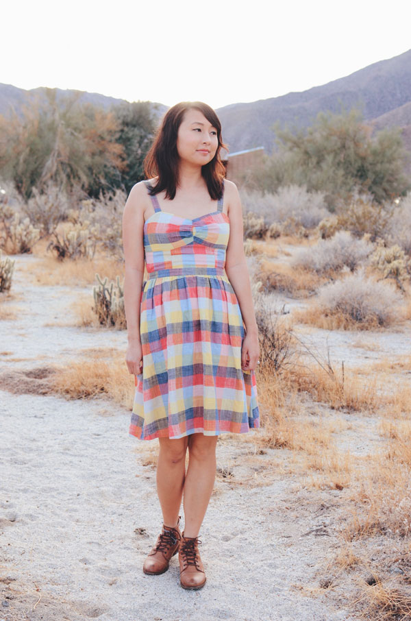 hanhgry.com | standing in plaid dress, looking at camera in the anza borrego desert state park